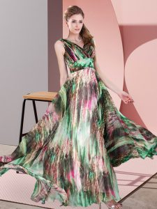 Affordable Printed V-neck Sleeveless Lace Up Pattern Mother Of The Bride Dress in Multi-color
