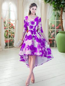 White And Purple Mother of Bride Dresses Prom and Party with Belt Scoop Half Sleeves Lace Up