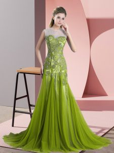 Beauteous Olive Green Mother Of The Bride Dress Tulle Sweep Train Sleeveless Beading and Appliques