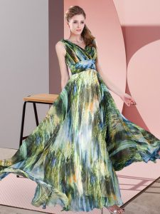 Dramatic Sleeveless Floor Length Pattern Lace Up Mother Of The Bride Dress with Multi-color