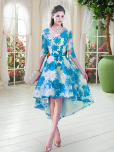 Nice Half Sleeves Lace High Low Lace Up Mother Of The Bride Dress in Blue And White with Belt
