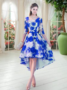 Top Selling Belt Mother Of The Bride Dress Blue And White Lace Up Half Sleeves High Low