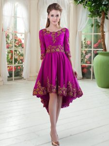 Elegant Scoop Long Sleeves Lace Up Mother Of The Bride Dress Purple Tulle