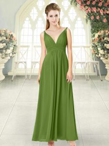 New Arrival Ankle Length Backless Mother Of The Bride Dress Olive Green for Prom and Party with Ruching