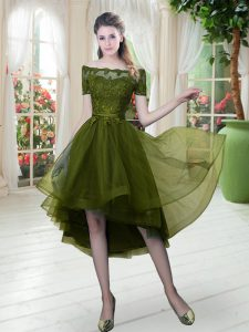 Excellent Olive Green A-line Lace Mother Of The Bride Dress Lace Up Tulle Short Sleeves High Low
