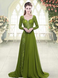 Great Olive Green Mother Of The Bride Dress Chiffon Sweep Train Long Sleeves Beading