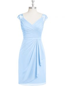 Light Blue Mother Of The Bride Dress Prom and Party and Military Ball with Appliques and Ruching V-neck Cap Sleeves Zipper
