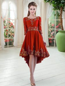 Vintage A-line Mother Of The Bride Dress Red Scoop Satin Long Sleeves High Low Lace Up