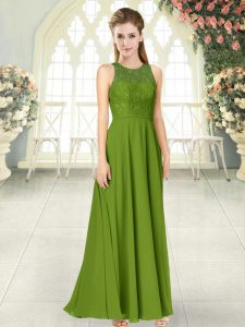 Chiffon Scoop Sleeveless Backless Lace Mother Of The Bride Dress in Olive Green