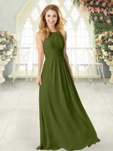 Floor Length Olive Green Mother Of The Bride Dress Chiffon Sleeveless Ruching