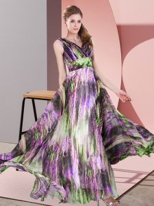 Sleeveless Floor Length Pattern Lace Up Mother Of The Bride Dress with Multi-color