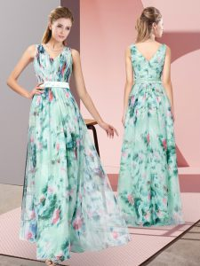Inexpensive Floor Length Multi-color Mother of the Bride Dress Printed Sleeveless Pattern