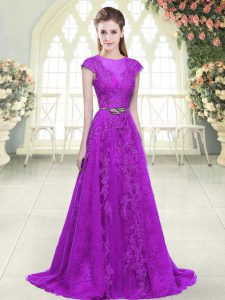 Exceptional Tulle Scoop Cap Sleeves Sweep Train Zipper Lace and Appliques and Pick Ups Mother Of The Bride Dress in Purple