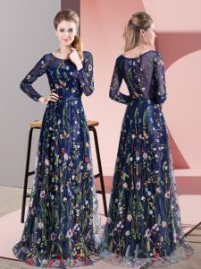 Inexpensive Multi-color Empire Chiffon Scoop Long Sleeves Pattern Zipper Mother Of The Bride Dress Sweep Train