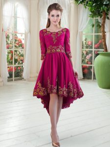 Hot Selling Long Sleeves High Low Embroidery Lace Up Mother Of The Bride Dress with Fuchsia