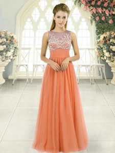 Fantastic Sleeveless Tulle Floor Length Backless Mother Of The Bride Dress in Orange with Beading