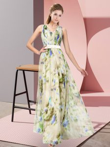 Multi-color Zipper V-neck Pattern Mother Of The Bride Dress Printed Sleeveless