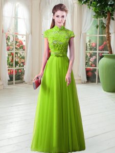 High-neck Cap Sleeves Lace Up Mother Of The Bride Dress Tulle