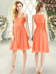 Sleeveless Chiffon Knee Length Side Zipper Mother Of The Bride Dress in Orange with Lace