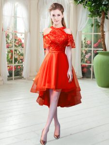 Rust Red Short Sleeves Tulle Zipper Mother Of The Bride Dress for Prom and Party