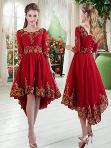 Glorious Wine Red Long Sleeves High Low Embroidery Lace Up Mother Of The Bride Dress