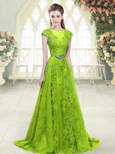 Excellent Tulle Scoop Sleeveless Sweep Train Zipper Beading and Pick Ups Mother Of The Bride Dress in Yellow Green