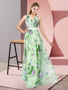 Fine Sleeveless Floor Length Pattern Zipper Mother Of The Bride Dress with Multi-color