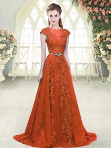 Flare Scoop Cap Sleeves Tulle Mother Of The Bride Dress Beading and Lace Sweep Train Zipper