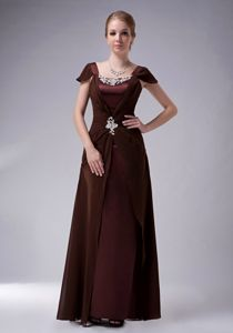 Recommended Brown Long Mother of the Groom Dress with Cap Sleeves