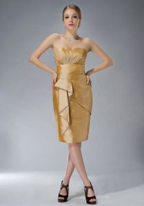 Beautiful Knee-length Taffeta Gold Mother of the Bride Dress on Promotion