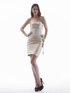 Girly Strapless Appliqued Mini Mother of the Bride Outfits in Champagne