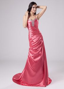 Halter Beaded Watermelon Red Mother of Bride Dress for Church Wedding