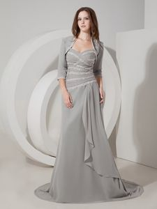 Sweetheart Empire Mother Dresses for Prom with Brush Train in Grey in Calgary