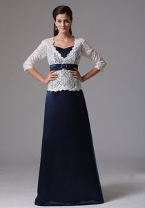 Blue and White V-neck A-line Mother of Bride Dresses with 3/4 Sleeves and Lace