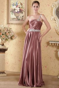 One Shoulder Empire Mother of the Groom Dresses in Rust Red with Brush Train