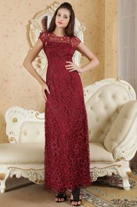 Special Burgundy Bateau Ankle-length Mother Bride Dresses with Lace in Whitby