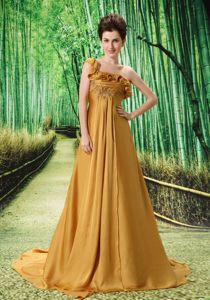 One Shoulder Court Train Mother Dresses for Formal Prom in Gold in Terrebonne