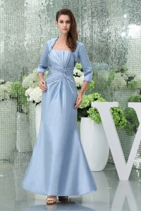 Beading and Ruching Ankle-length Mothers Outfits for Weddings in Aqua Blue