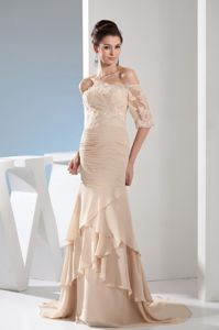 Champagne Off the Shoulder Half Sleeves Mother Bride Dress with Brush Train