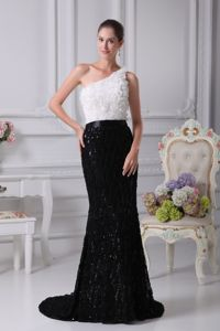 New Black and White One Shoulder Brush Train Mother of The Groom Dresses