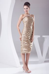 Champagne Ruching Strapless Knee-length Mother Bride Dresses in North Bay