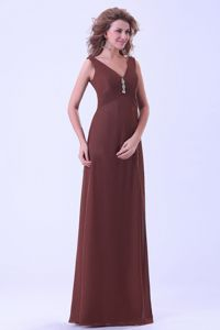 Brown V-neck Empire Chiffon Mother Of The Bride Dress in Bacup Lancashire
