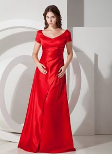 Red Column Scoop Short Sleeves Mother of the Bride Dress in Bath Avon