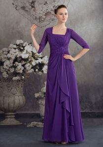Square Half Sleeves Mother of The Bride Dresses with Ruffle and Beading