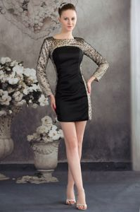 Long Sleeves Scoop Sequined Mother Dresses in Black and Champagne