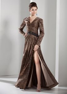 Crump V-neck Long Sleeves Leopard Mother of The Bride Outfits