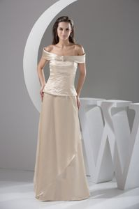 off-the-shoulder Ivory Mother of Bride Dresses with Beading Decorate