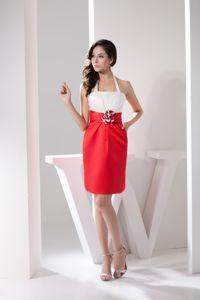 White and Red Halter with Flower Mother of Bride Dress in Charleston