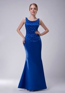 Blue Column Scoop Beading Mother of The Bride Outfits in Arrington