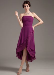 Ruching Decorate High-low Purple Mother of Bride Dress in Altamont